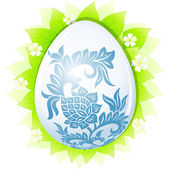 Easter egg with leaves — Stock Vector