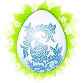 Yaprakları ile paskalya yortusu yumurta — Stok Vektör