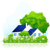 Сountry house in grass — Stock Vector