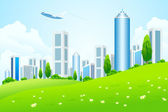Green landscape with city — Stock Vector