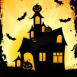Grungy Halloween background with haunted house — Stock Vector #6125596