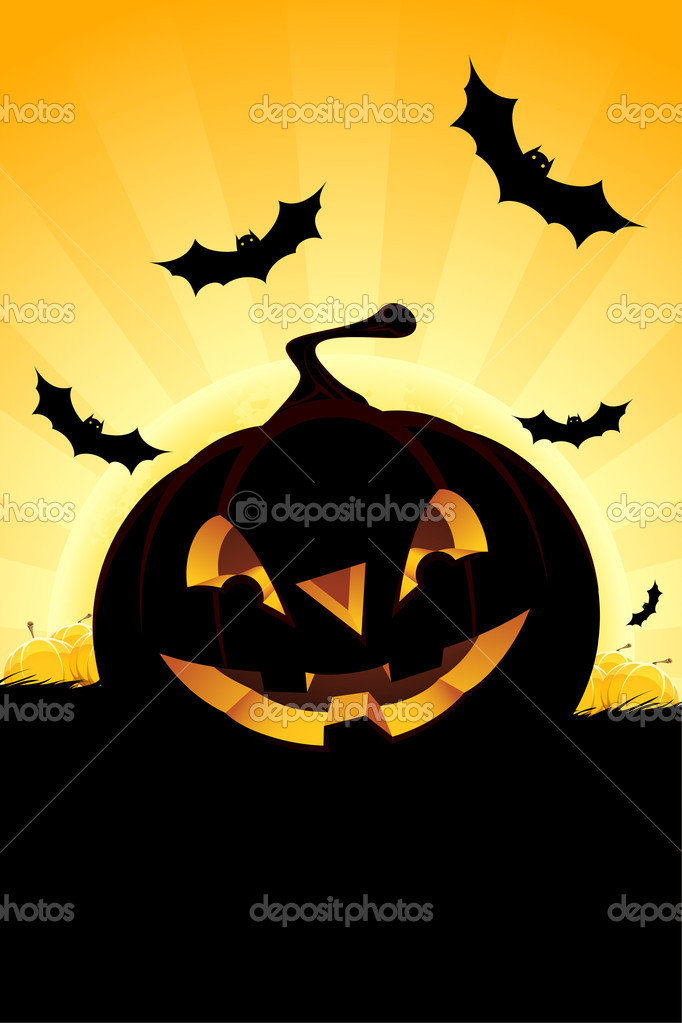 Halloween background with pumpkin in grass  bats and full moon — Stock Vector #6125585