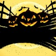 Grungy Halloween background with pumpkins and bats — Stock Vector