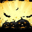 Grungy Halloween background with pumpkins and bats - Stock Vector