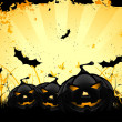 Grungy Halloween background with pumpkins and bats — Imagen vectorial
