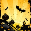 Grungy Halloween background with pumpkins and bats — Stock Vector #6346157