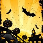 grungy fundo de halloween com abóboras e morcegos — Vetorial Stock