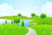 Green Landscape with lake tree road and flowers — Stock Vector