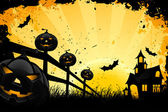 Grungy Halloween background with house pumpkins and bats — Stock Vector