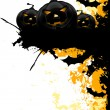 Stock vektor: Grungy Halloween background with pumpkins and bats