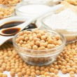 Soybean and soy products — Stock Photo