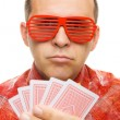 Gambler holding playing cards — Stock Photo