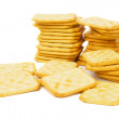 Salty cracker isolated on white — Stock Photo