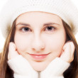 Beautiful brunette in winter outfit — Stock Photo