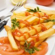 French fries with tomato ketchup - Foto de Stock