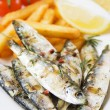 Grilled fish with french fries — Zdjęcie stockowe
