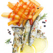 Grilled fish and french fries isolated on white - Stock Photo