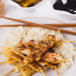 Grilled chicken and baby corn on skewer — Stock Photo