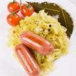 Sauerkraut with sausages, traditional german meal — Foto Stock