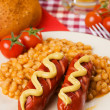 German sausages with white beans — Foto de Stock