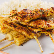 Grilled chicken meat and baby corn with rice — Stock Photo