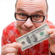 Royalty-Free Stock Photo: Happy man with hundred dollar bill