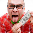 Lucky man with 100 dollars — Stock Photo