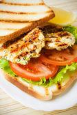 Grilled chicken sandwich — Stock Photo