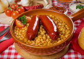 Beans and sausage — Stock Photo