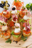 Bruschetta, italian canape — Stock Photo