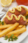 Grilled sausage with french fries — Stock Photo