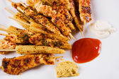Grilled chicken white meat and baby corn on skewer — Stock Photo