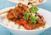 Asian style pork meat with rice — Stock Photo