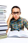 Jong meisje lezen van boeken — Stockfoto