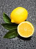 Fresh lemon fruit on wet surface — Stock Photo