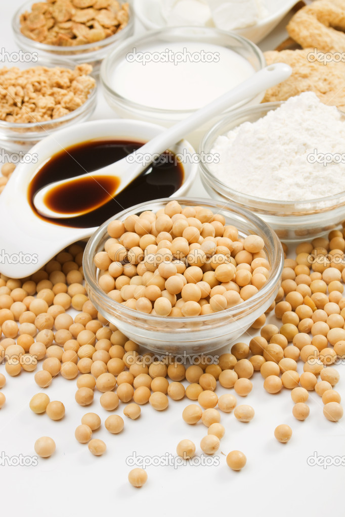 Soybean and various soy products on white background, not isolated  Stock Photo #5662369