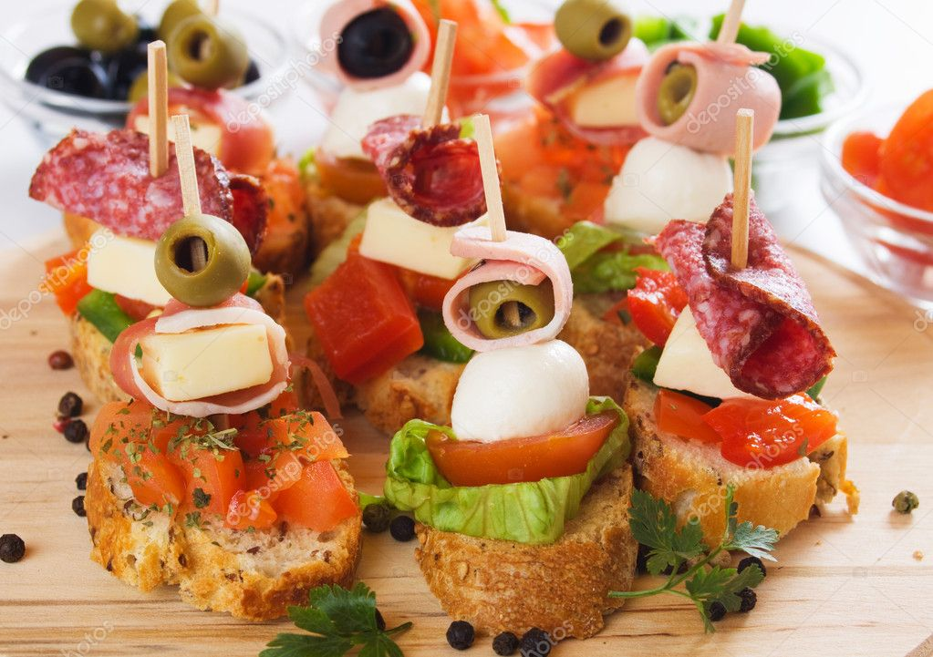 Canape with italian food ingredients stock photo for What is a canape appetizer