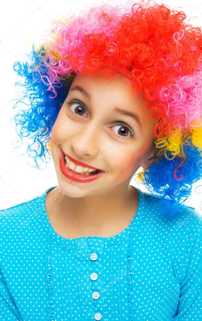 Young girl with colorful party wig on white background   #5665211