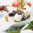 Cheese appetizer with olives and rosemary — Stok fotoğraf