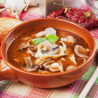 Mushroom and noodle soup — Stock Photo