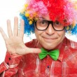 Man with party wig — Stock Photo
