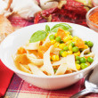 Vegetable noodle soup — Stock Photo