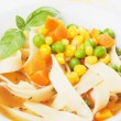 Vegetable noodle soup — Stockfoto