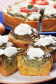 Spinach quiche with cream — Stock Photo
