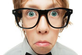 Surprised young nerd — Stock Photo