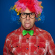 Man with party wig — Stock fotografie