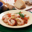 Stock Photo: Shrimp prawns with cooked rice