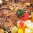 Caribbean style pork chops with tropical fruit - Stock Photo