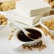 Soy sauce and other products made form soybean — Stock Photo