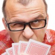 Gambler with playing cards — Stock Photo